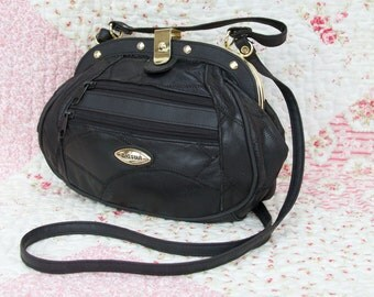 Jessica, French Vintage, 1970s Black Leather Satchel, Messenger, Crossbody, Handbag from Paris