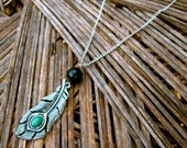 Peacock Necklace Boho Feather Necklace Long Necklace Gypsy