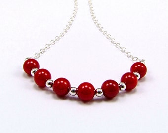 Red Coral & Sterling Silver Micro Necklace - N705
