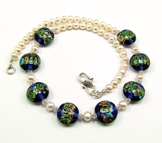 Gorgeous Lampworked Glass & Freshwater Pearl Necklace - N236