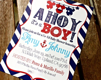 Ahoy it's a BOY  Baby Shower Invitation (Single Sided Printable)