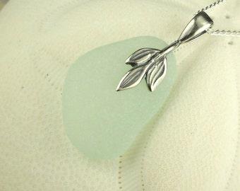 GENUINE Aqua Sea Glass Pendant Necklace Pewter Leaf Necklace Beach Glass Jewelry Seaglass Jewelry