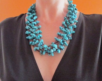 Turguoise and tubes chunky statement Necklace, Handmade Jewelry, Turquoise necklace