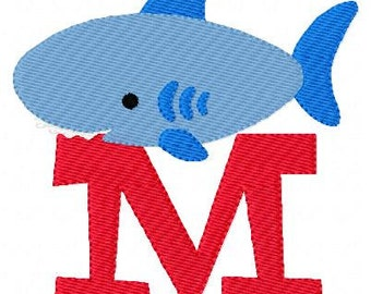 Shark Monogram Machine Embroidery Font Design Set // Joyful Stitches