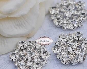5pcs RD138 Rhinestone Metal Flatback Embellishment Button Brooch Bridal Wedding accessories invitations crystal bouquet flowers hair clip