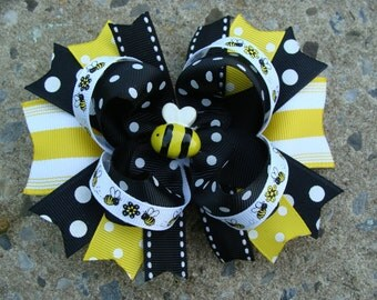 Bumble Bee Hair Bow Large Hair Bow boutique Hair Bow