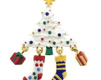 White Christmas Tree with Stockings Brooch 1000771
