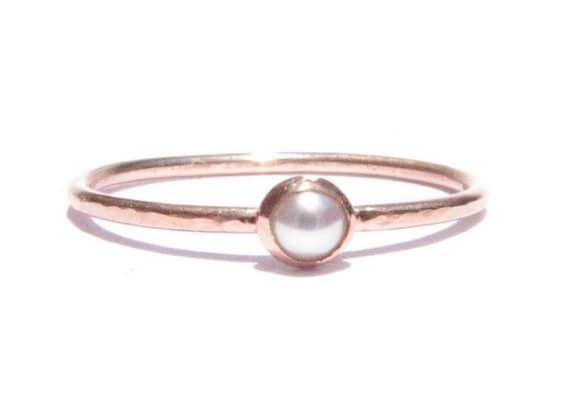 Sale Pearl Solid Rose Gold Ring Pearl Rose Gold Pearl
