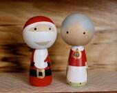 Santa and Mrs. Claus Kokeshi Peg Set