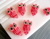 Lovely Owl 6pcs watermelon pink with clear crystal rhinestone bracelet connector,pendant-20x12
