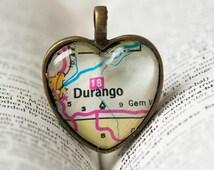 Colorado, Colorado Necklace, Durango Colorado Necklace, Durango Colorado Map Necklace, I Love Durango Colorado, Fort Lewis College