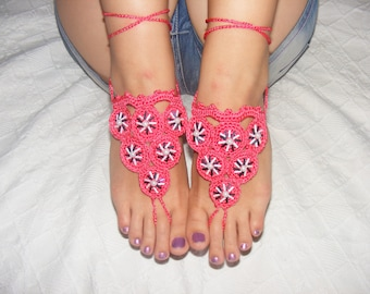 Lovely crocheted silk barefoot sandals in coral pink
