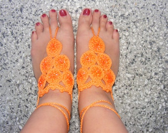 Lovely crocheted silk barefoot sandals in orange