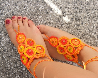Lovely crocheted silk barefoot sandals in yellow and orange