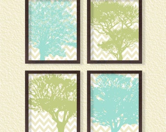 Tree Prints- Chevron (Set of 4) 8x10- Botanical Green Nature Plant Instant Download Digital Printable Poster Living Room Home Decor Wall Art