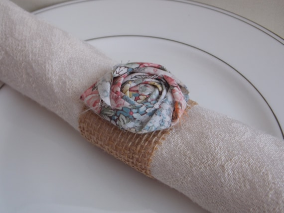 Vintage Burlap Wedding Decor Napkin Rings and Flower Rustic Shabby ...