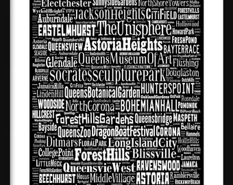 Queens New York Bus Roll - Subway Scroll Poster Print Typography Text
