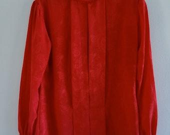 Vintage Red Secretary Blouse Size M