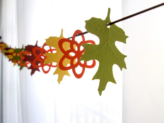 """6 Foot - 2"""" Oak Leaf and Summer Blossom in Orange, Brown, Moss Green and Mustard Party Banner Garland"""