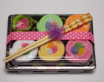 Baby Girl Rainbow Roll Washcloth Sushi Gift Set - Unique Baby Shower Gift