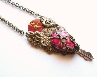 OOAK Steampunk Necklace / Burgundy Jasper Stone / Vintage Watch Parts / Upcycle Hillman Key /  Victorian Jewelry