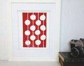 Modern Decor Red and White Print Linocut Art 8 x 10 Polka dot