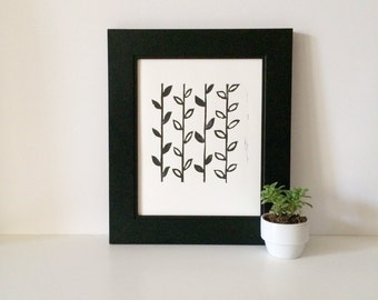 Retro Modern Relief Print art poster Black and White Flower Stems Linocut 8 x 10 Summer Home Decor