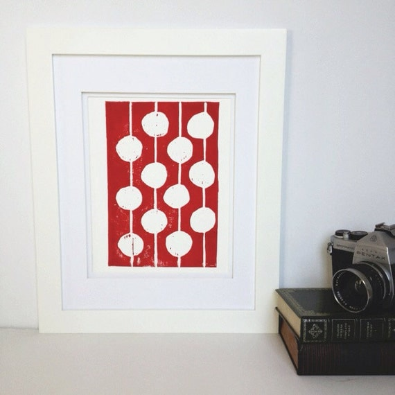 Modern Decor Red and White Print Linocut Art 8 x 10 Polka dot