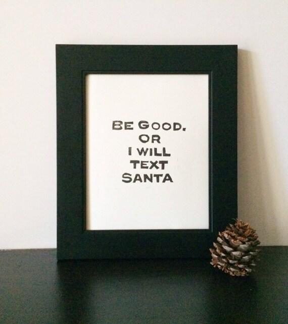 Santa Claus Holiday Decor PRINT Black Linocut 8x10