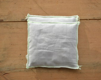 modern minimal white lavender pillows - white and green neon lavender sachets - minimal - modern home decor - lavender sachets
