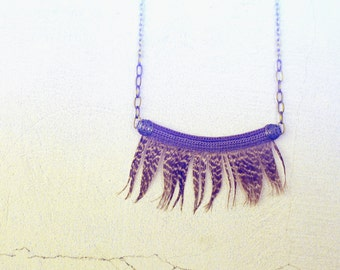 Statement Feather Necklace Grizzled Fringes, Ethnic Necklace, Native Art Necklace, Aboriginal Jewelry
