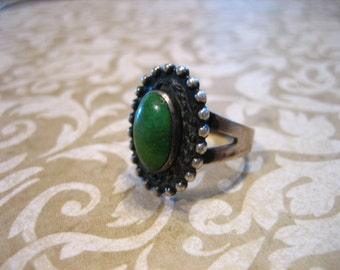 Vintage Sterling Silver Indian Old Pawn Turquoise Ring