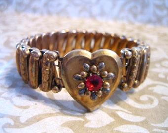 Vintage Lustern Gold Filled Sterling Heart LOCKET Sweetheart Expandable Bracelet