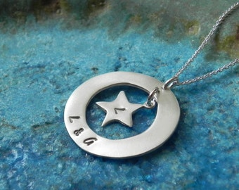 Personalized circle and star sterling silver necklace with date, name or initials Valentine gift