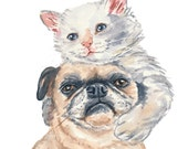 Dog and Cat watercolor PRINT- 8x10, Kitten Watercolour, Pug Painting, Hug, Nursery Art