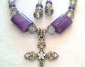 Purple Cross Necklace, Silver Cross Necklace, Cross Necklace, Silver Cross, Easter Gift, Easter Necklace, Easter Jewlery, Easter, Rosary