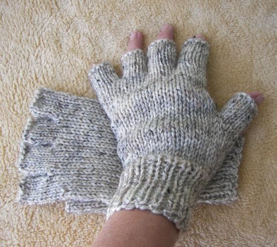 Hand Knit WOOL Half Finger GLOVES Unisex in Birch by ATIdesign