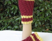 Burgundy red and yellow striped hand knitted wool fingerless mitts