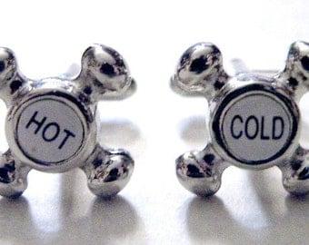 Mens Cufflinks Steampunk Silver Retro Victorian Edwardian Cuff links Hot Cold Knob Metal
