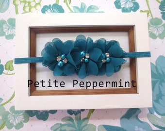 Baby headband, toddler headband, little girl headband - Turquoise Flower Headband