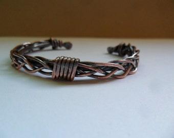Woven Copper Wire Cuff Bracelet for Men or Women