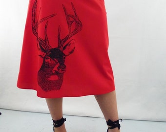 Red Skirt Deer Print - Aline Cotton Skirt - Silk Screen Printed to Order