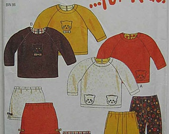 Children's, Girl's Skirt, Pants, Top, Kitty Applique, Sweatpants, New Look 6800 Sewing Pattern UNCUT Sizes 2-7