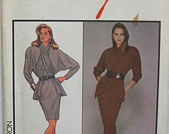 RARE Vintage 80's Alfred Sung Misses' Dress in 2 Lengths Style 1160 Sewing Pattern UNCUT Size 10