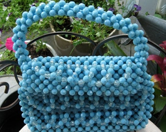 Beaded Purse / Hand Made In Hong Kong / Eggshell Blue Plastic Beaded Purse / Beaded Purse with Loops of  Beads / Bold Color / Spring Fashion