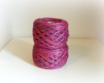 Wool Silk Yarn - Hand Knitting - Knitting Baby Yarn - Rainbow Red Pink Fuchsia Violet Printed - One Ball 130g - Baby Soft yarn