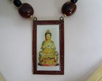 Goddess Kwan Yin Necklace, buddhist jewelry goddess jewelry buddhism jewelry boho jewelry zen meditation hippie bohemian new age quan yin