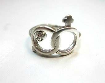 Sterling Diamond Ring Man Woman Symbols Size 7