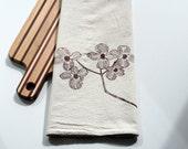 Natural Flour Sack Tea Towel - Dogwood Branch - Hand Screen Printed
