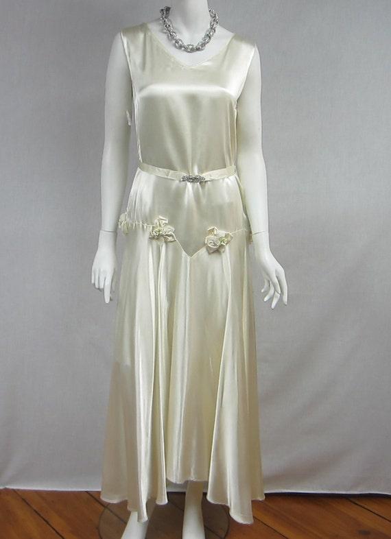 Antique 1920's Art Deco White Flapper Wedding Dress Bridal Rhinestone drop waisted Gown